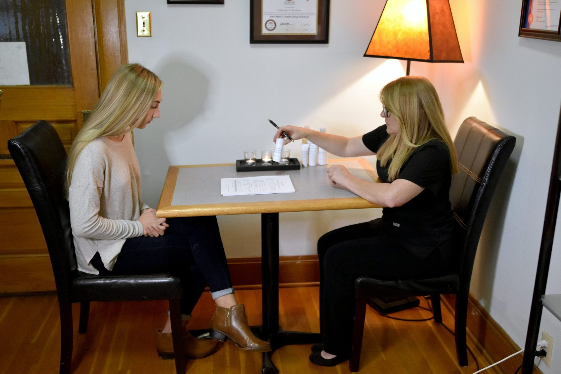 Cathy providing an Acne Consultation in Topeka, KS